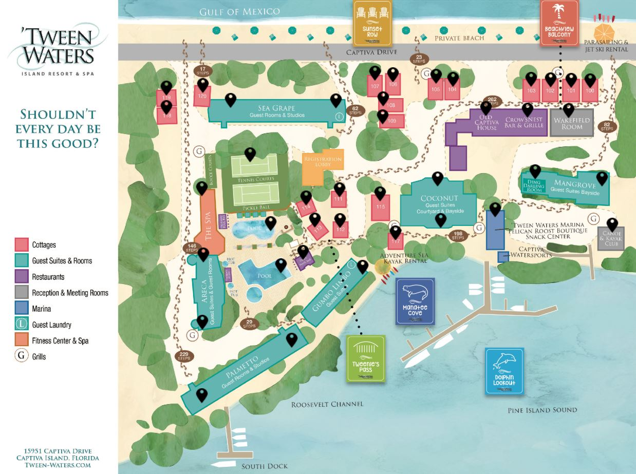 How to Get to Captiva Island and 'Tween Waters Island Resort & Spa Map